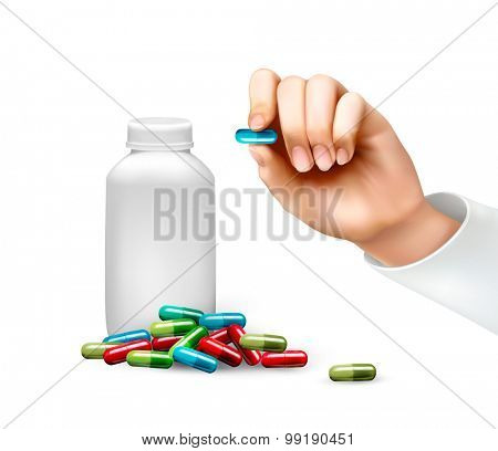 Hand holding a pill and a bottle of pills. Vector.