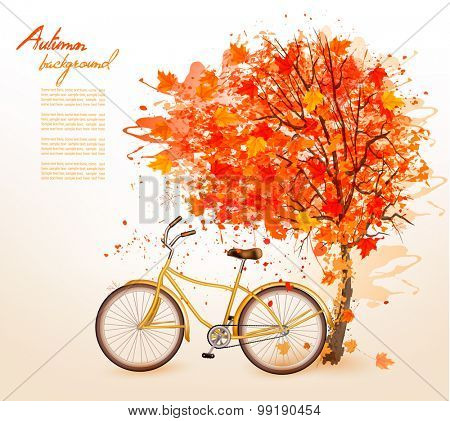 Autumn tree background with a yellow bicycle. Vector.