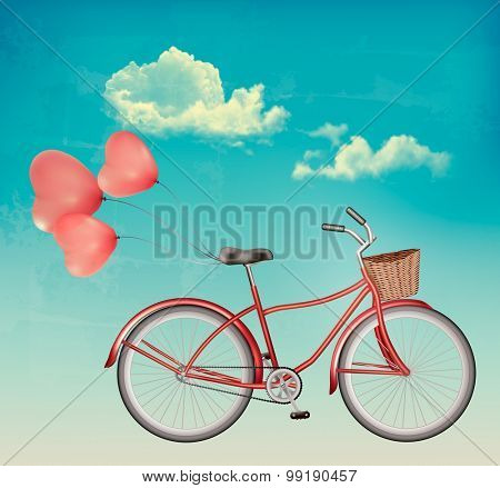 Retro bicycle with red heart shaped balloons. Vector.