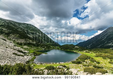 Mountain Lake in a valley and Cloudy Sky