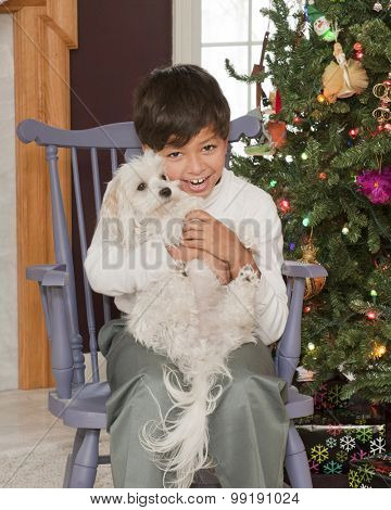 A handsome young boy sitting near his Christmas tree delighted with the puppy he holds on his lap..