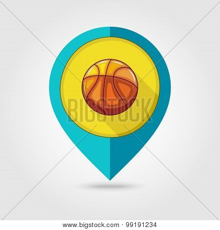Basketball Flat Mapping Pin Icon