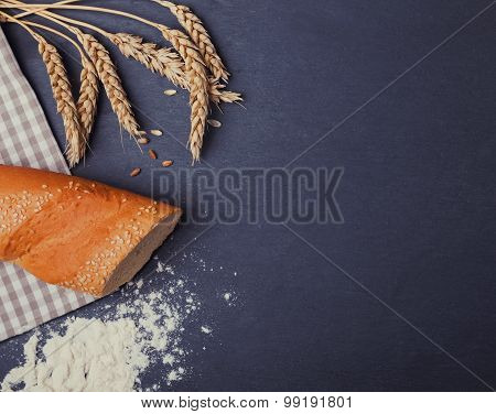 Wheat, Bread And Flour On The Black Board