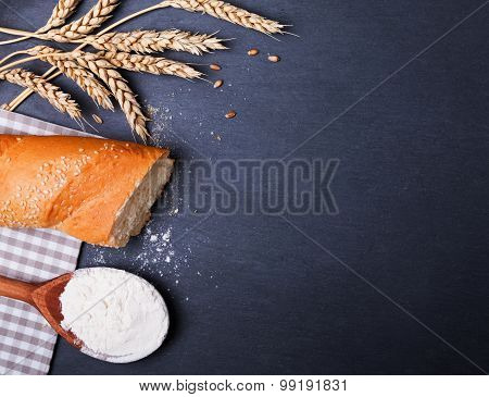 Wheat, Baquette And Flour On The Black Board