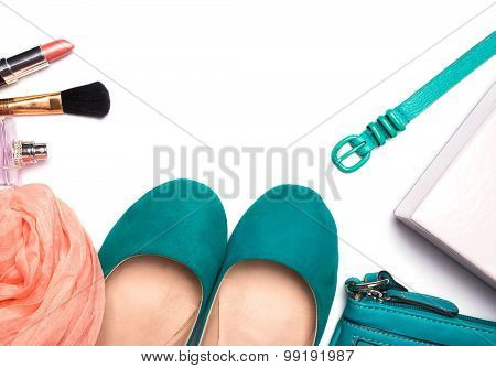 Woman Accessories Of Turquoise And Peach Color Isolated On White Background