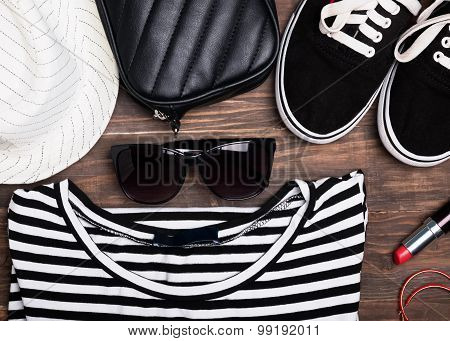 Outfit Of Modern Young Girl On The Wooden Background
