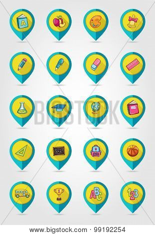 School Flat Mapping Pin Icon Set