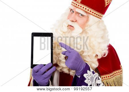 Sinterklaas showing tablet. isolated on white background. Dutch character of Santa Claus