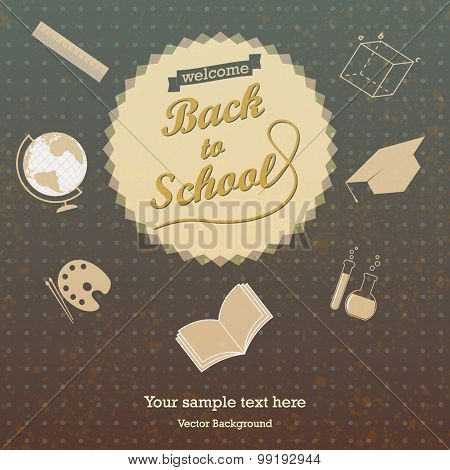 Back to school - vector retro design background texture with sch