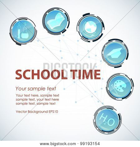 School time background. Glass technological button icons with sc