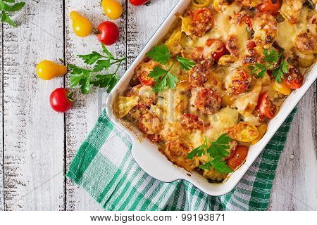 Vegetarian Vegetable casserole with zucchini, mushrooms and cherry tomatoes