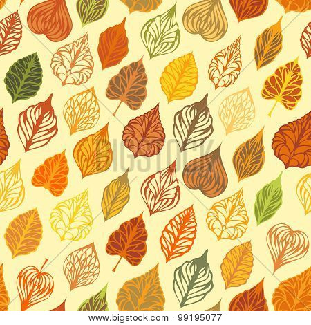Vector Autumn Seamless Leaves Pattern.