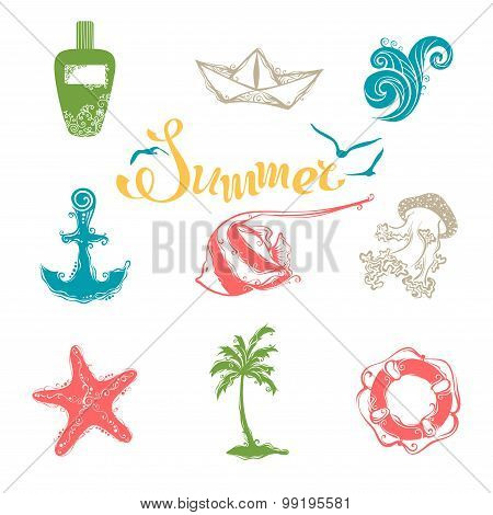 Vector Set Of Bright Summer And Travel Symbols.