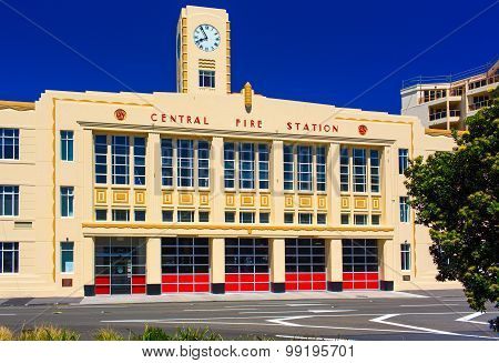 Facade view of the Central Fire Station building. Kent Terrace street. Wellington city