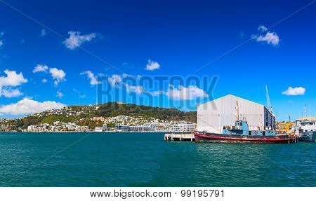 Panoramic view from the Queens wharf. Wellington city. New Zealand.