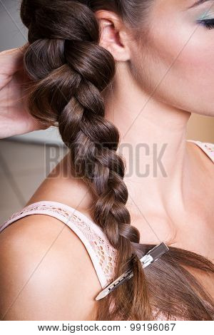 beautiful braid in a beauty salon