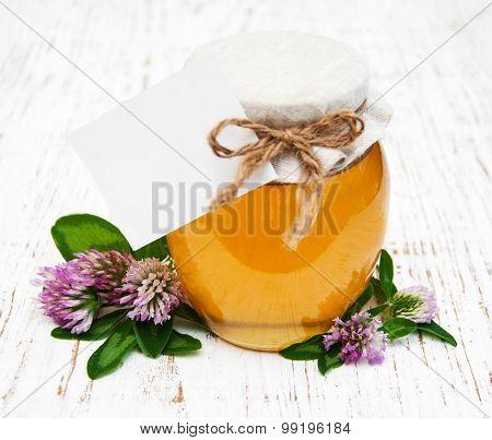 Jar Of Honey With Clover