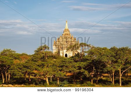 Scenic View Of Beautiful Ancient Temple At Sunset, Bagan