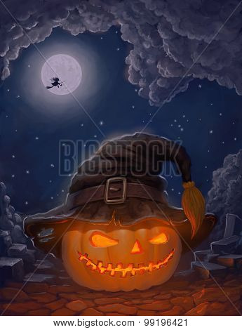 Halloween Ominously Grinning Pumpkin In A Witch's Hat And With Witch On A Broom Against The Moon