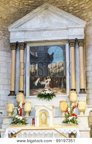 CANA, ISRAEL  July 8, 2015: The altar in the church of the first miracle, changing water into wine