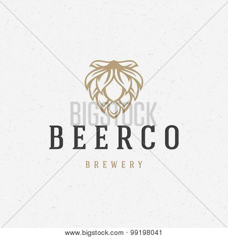 Beer hop logo or badge design element vector illustration