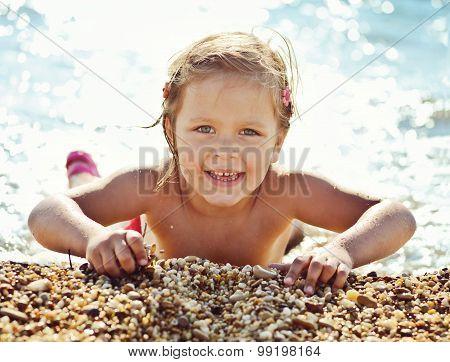 Happy Girl In Sea Water