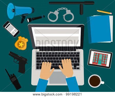 Workplace police. Table with laptop, tablet and mobile phone. Vector illustration