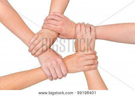 Five Arms Of Children Holding Together On White Background