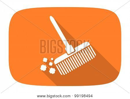broom flat design modern icon with long shadow for web and mobile app