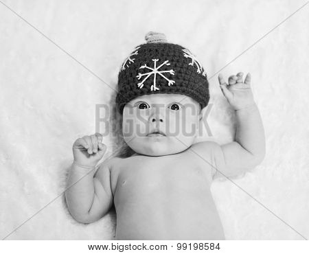 Newborn Baby Wearing Hat