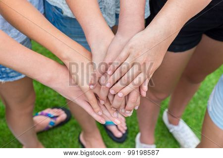 Several Arms Of Girls With Hands Over Each Other