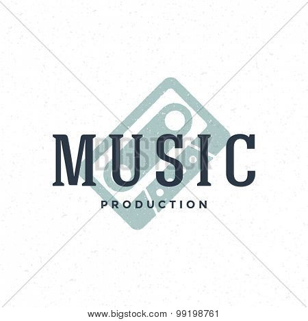 Music type logo hand drawn vintage design element for labels, badges, stickers, emblems vector illustration.