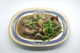 picture of liver fry  - Stir fried pork liver with celery on dish - JPG
