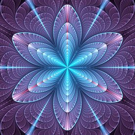picture of six-petaled  - Abstract fractal cyan - JPG