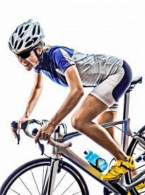 picture of triathlon  - woman triathlon ironman athlete  cyclist cycling on white background - JPG