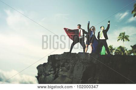 Business Superheroes Edge Cliff Achievement Success Concept