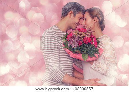 romantic boyfriend kissing embracing girlfriend