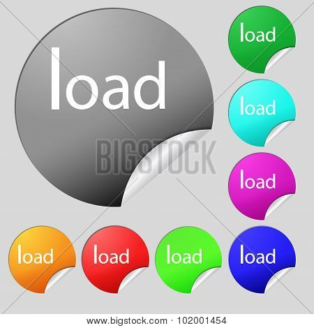 Download Now Icon. Load Symbol. Set Of Eight Multi Colored Round Buttons, Stickers. Vector