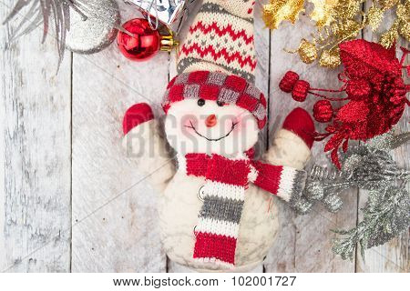 Christmas Decorations with snowman,gift and christmas baubles