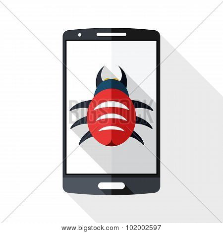 Smart Phone Icon Infected By Malware With Long Shadow On White Background