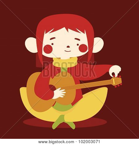 Cute Girl Tuning Acoustic Guitar