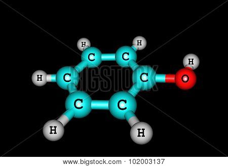 Phenol molecular structure isolated on black