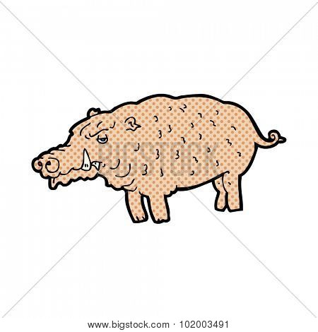 comic book style cartoon hog