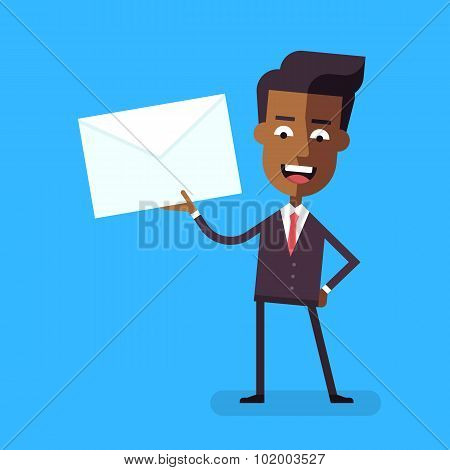 Handsome african american businessman in formal suit talking holding an envelope with a letter. Cart