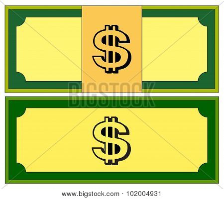 Cartoon Money, Dollar Banknote, Paper Bill. Vector Illustration Isolated On White Background