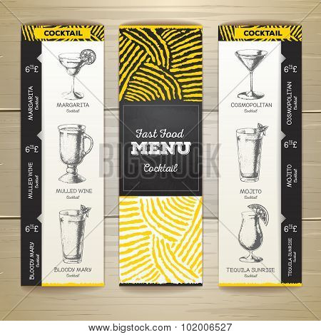 Cocktail Chalk Drawing Design Sketch. Document Template. Corporate Identity