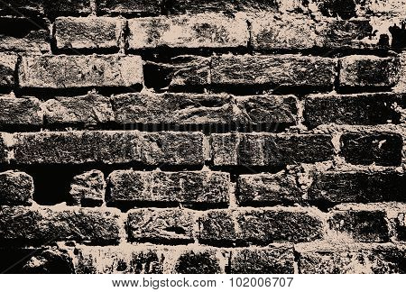 Monochrome Grunge Brick Wall As Abstract Background.