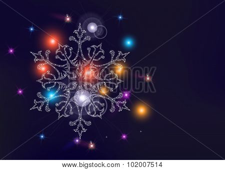 Happy New Year Christmas Snowflake Greeting Card