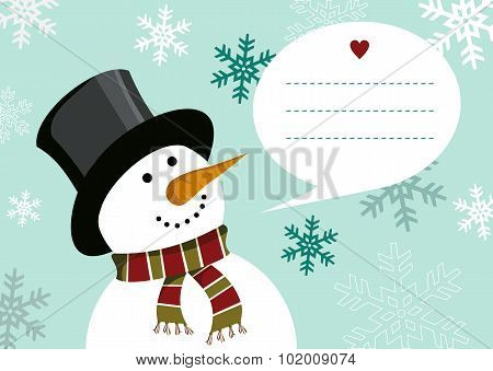 Christmas Happy Snowman Greeting Card Background