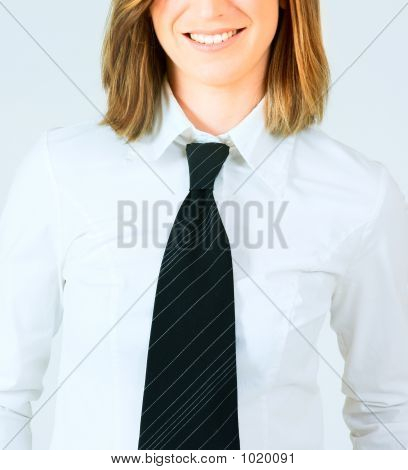 Blond Woman In White Shirt